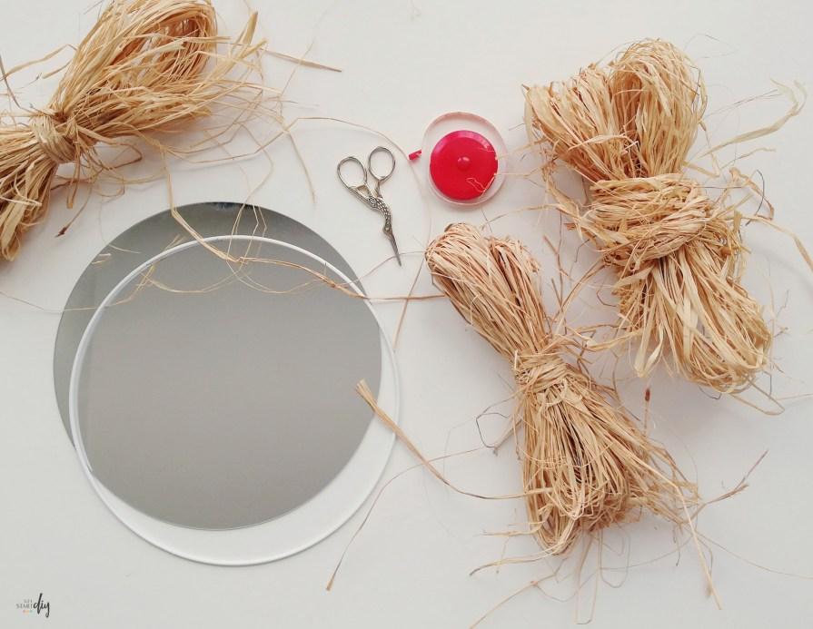 lustro z rafii - potrzebne materiały