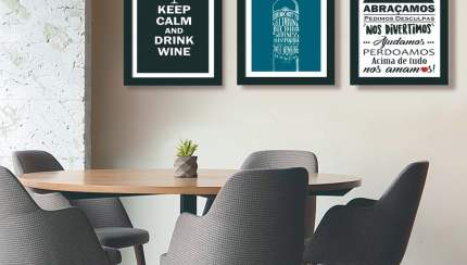 Conjunto De 3 Quadros Decorativos Para Sala De Jantar Keep Calm And Drink Wine Frases