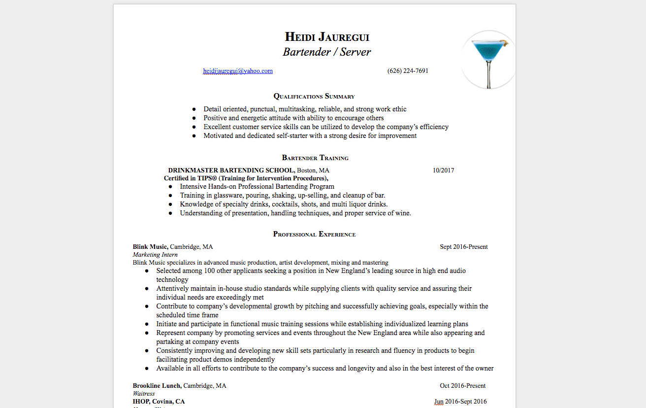 Bartending Resume Examples How To Get A Bartending Job Drinkmaster