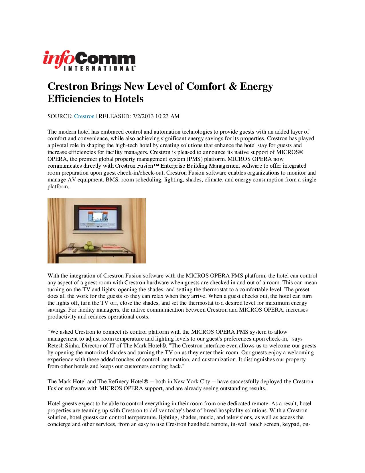 InfoComm International, the Audiovisual (AV) Association Crestron Brings New Level of Comfort & Energy Efficiencies to Hotels-page-001