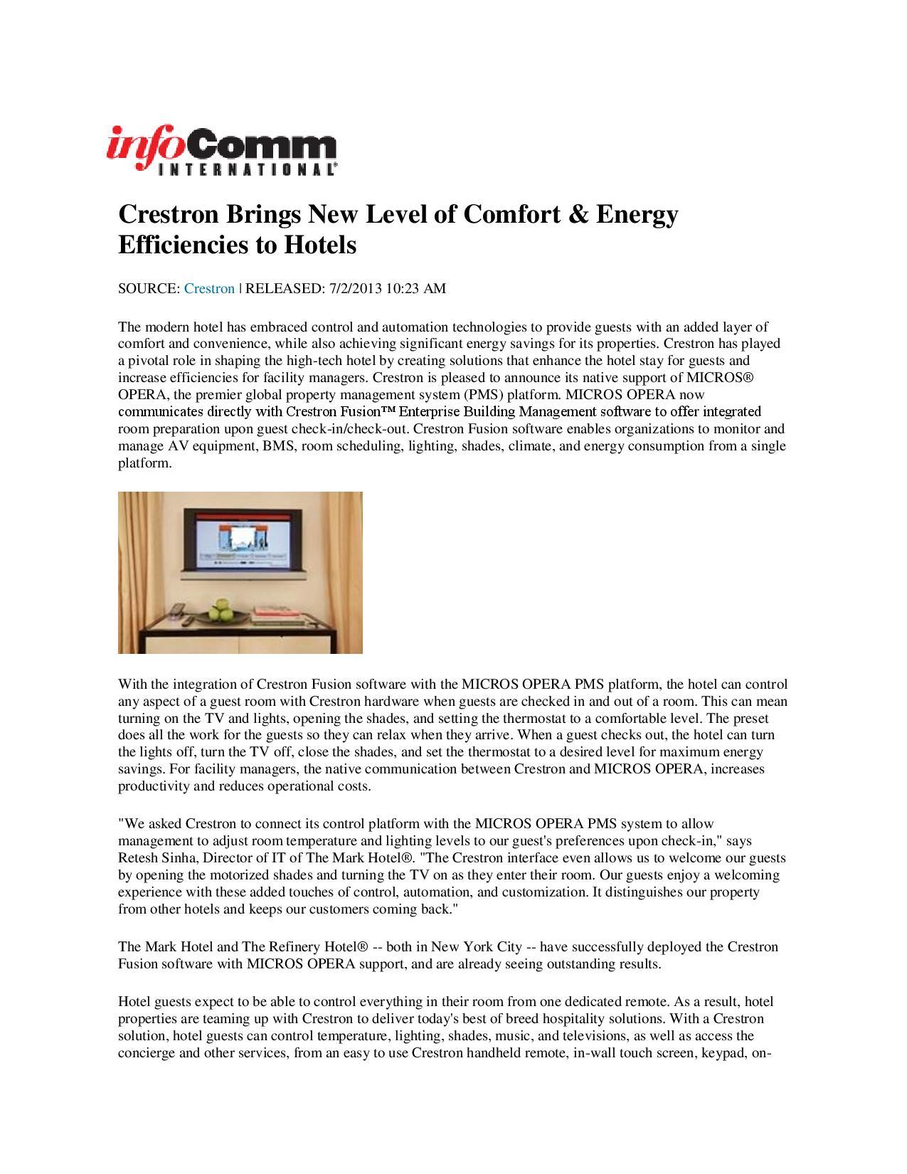 InfoComm International, the Audiovisual (AV) Association Crestron Brings New Level of Comfort & Energy Efficiencies to Hotels-page-001