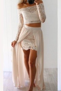 Two Piece Prom Dress,2 Piece Lace Prom Dresses,Long ...