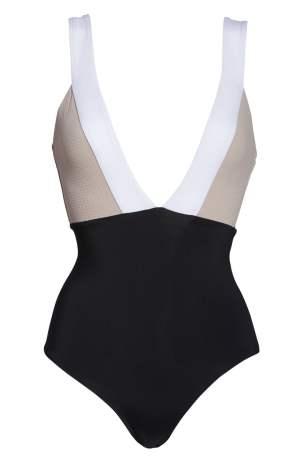 TAVIK Luna Colorblock Plunge One-Piece Tummy-Hiding Swimsuit