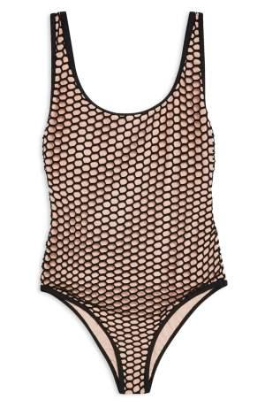 TOPSHOP Fishnet Scoop Neck Tummy-Hiding Swimsuit