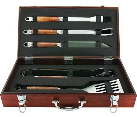 Mr. Bar-B-Q Mr. BBQ 5-Piece Rosewood Handled Grilling Set in Wood Case