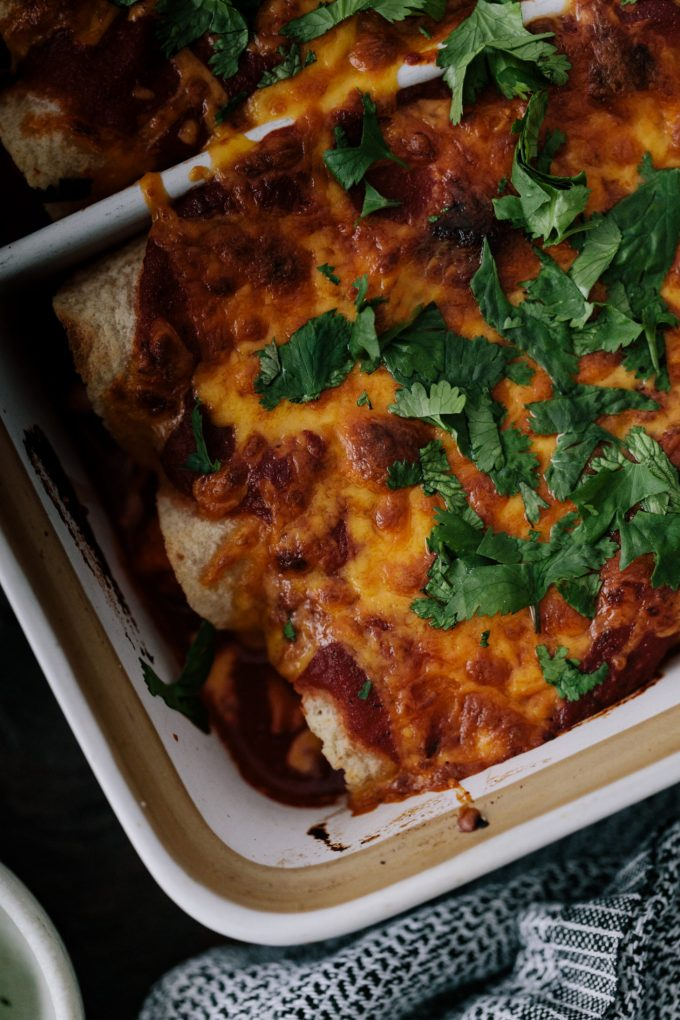 Close-up photograph of sweet potato enchiladas with spiced pinto beans and topped with melted cheddar cheese and cilantro.