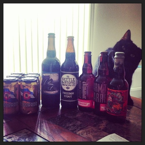 Today's beer haul and the cat that's trying to drink it all. #drinkandspoon #drink #cats #beer #beerporn #beergasm #instabeer #instagood #craftbeer<br /> @jollypumpkin @wynkoopbrew @almanacbeer