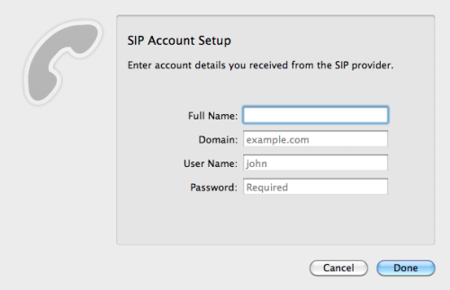 Telephone - SIP Account Setup