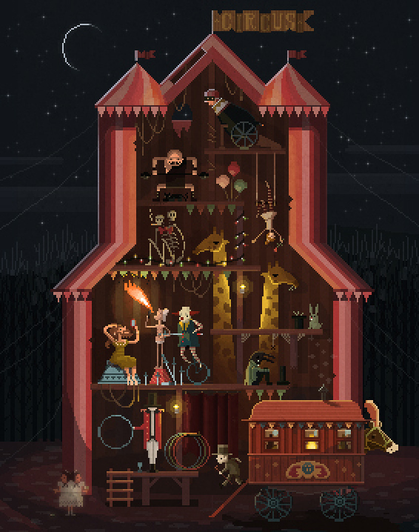 Midnight Carnival.<br /> This is the first in a long line of pixel art dioramas. Stay tuned for more!<br /> pixelshuh.tumblr.com