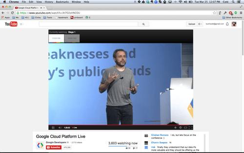 Urs Hölzle announcing Google Cloud Platform news on March 25th, 2014