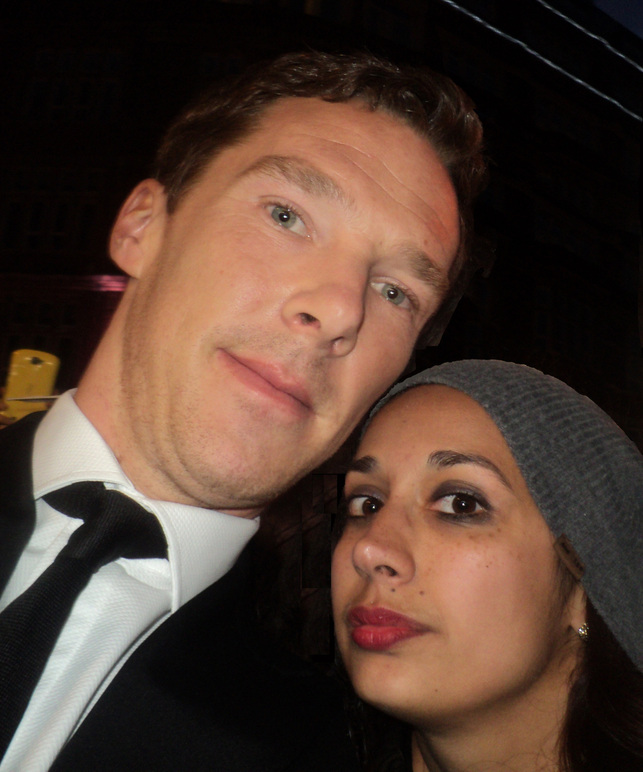 aislingsiobhan:</p> <p>Just realised I never posted the Benedict Cumberbatch photo from the Imitation Game premiere.<br /> It's a bit edited, cause all of his selfies come out pretty crap, but still :)</p> <p>What do you mean crap? He's the king of selfies…*cough* :P