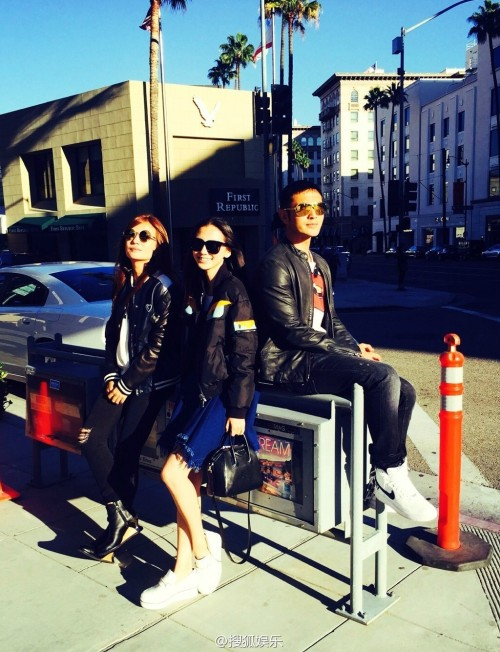 Zhao Wei, Angelababy, and Huang Xiaoming in Hollywood
