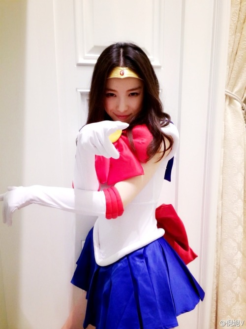 Ni Ni cosplaying as Sailor Moon