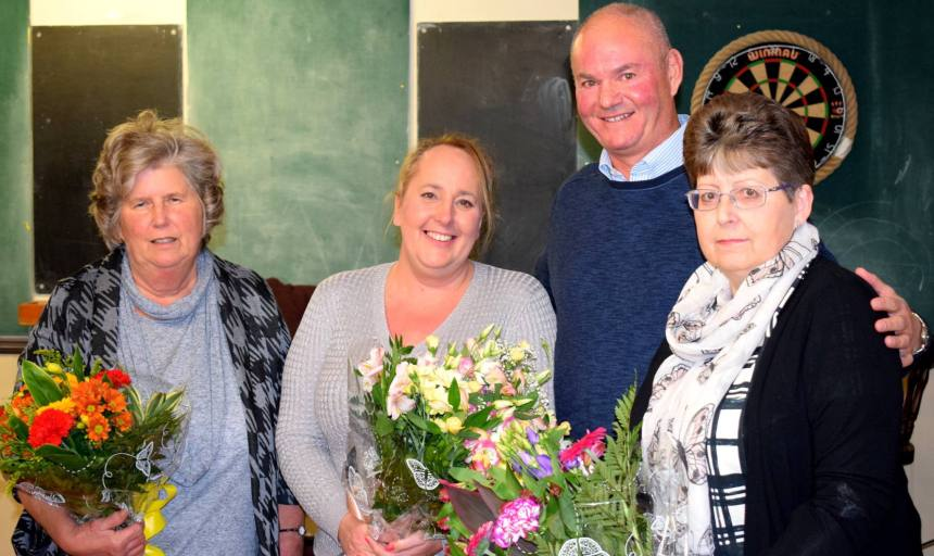 Hellingly's ladies presented with flowers.