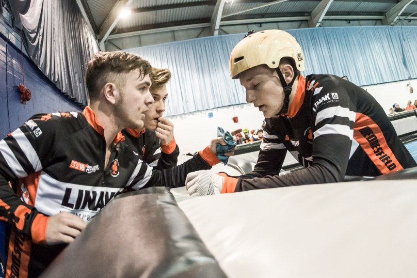 Wednesfield's juniors discuss tactics. Photo by Dave Perry.