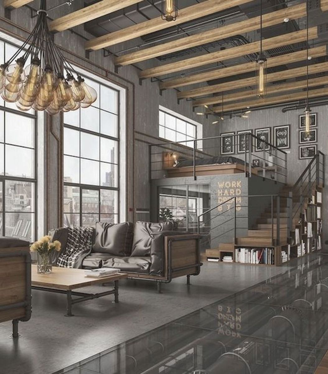 33 Best Industrial Living Room Ideas (17)