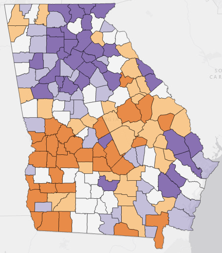 Growing Or Slowing Population Change In Georgia S Counties New