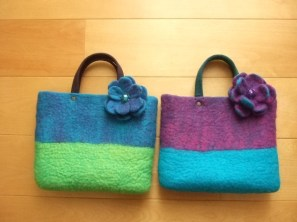 Bag with flower brooch