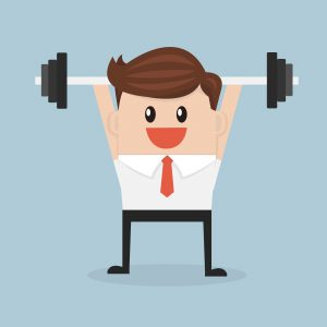businessman exercising with a barbell. vector. flat design