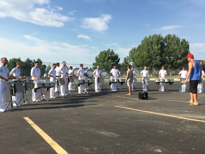 The Battalion and Madison Scouts Exhibition - June 21, 2016 - Madison Scouts Drumline In The Lot - Integrated Arc