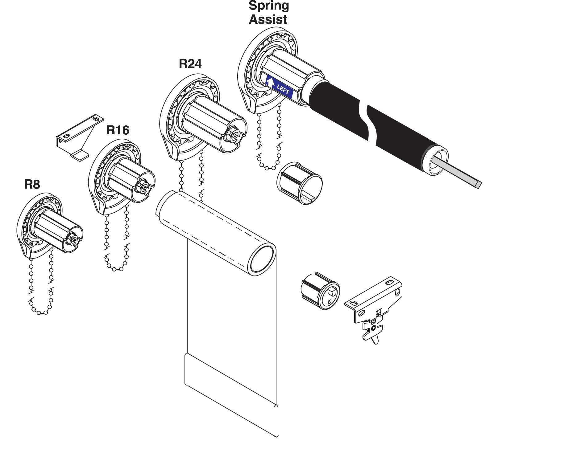 hight resolution of standard r series clutches manual clutch shade operators