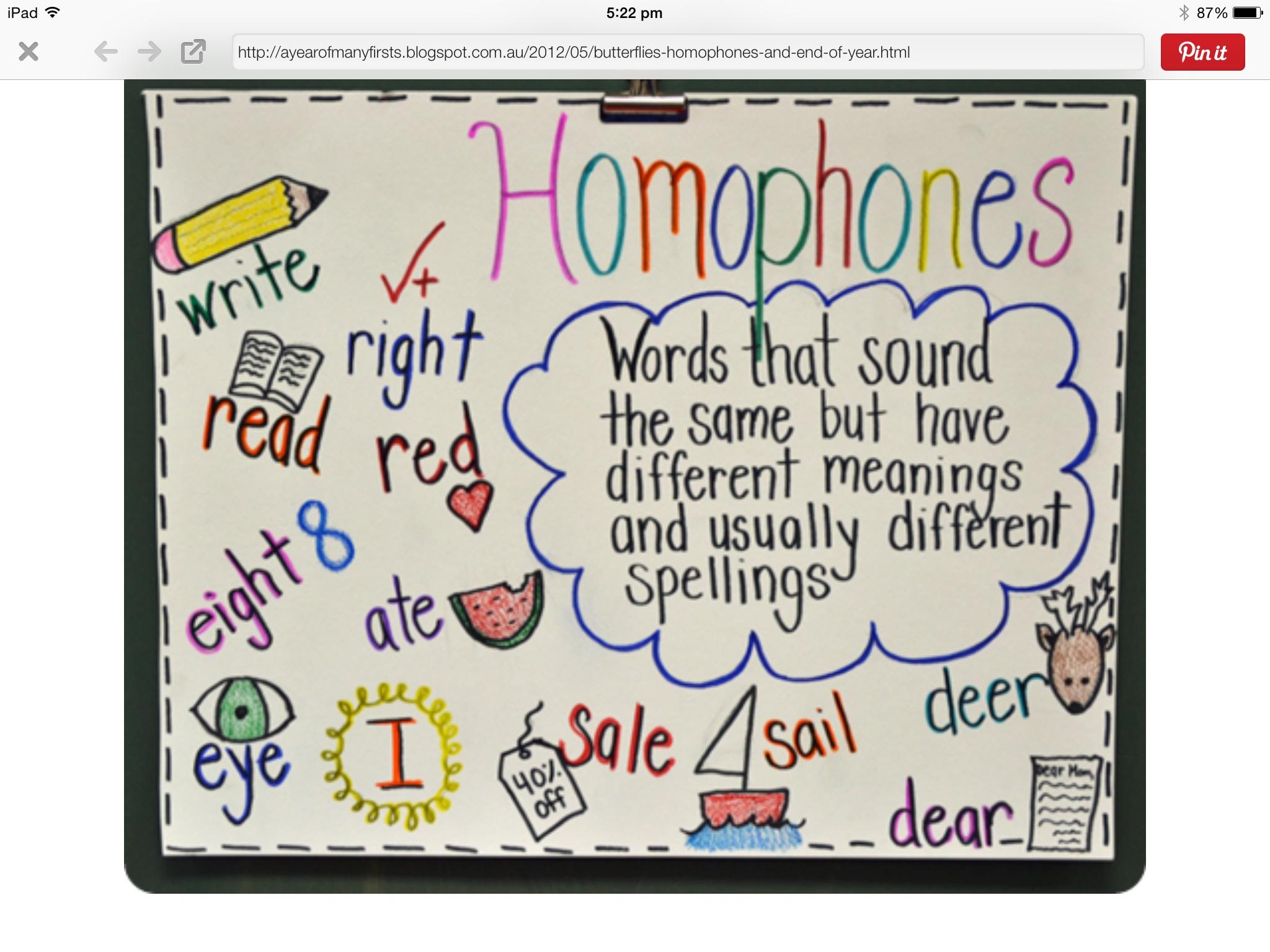 Word Investigations Homophones