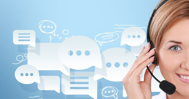 contact center agent with live chat bubbles