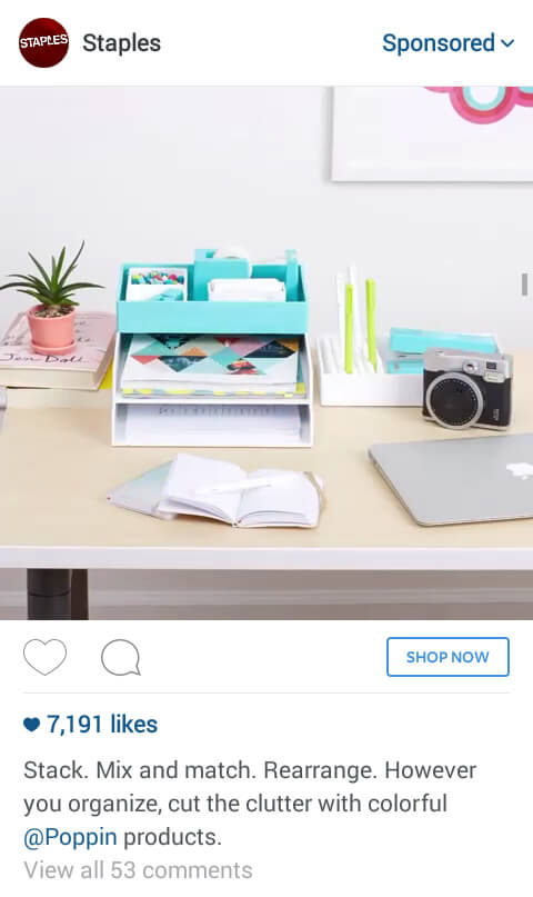 Example of Instagram ad from Staples