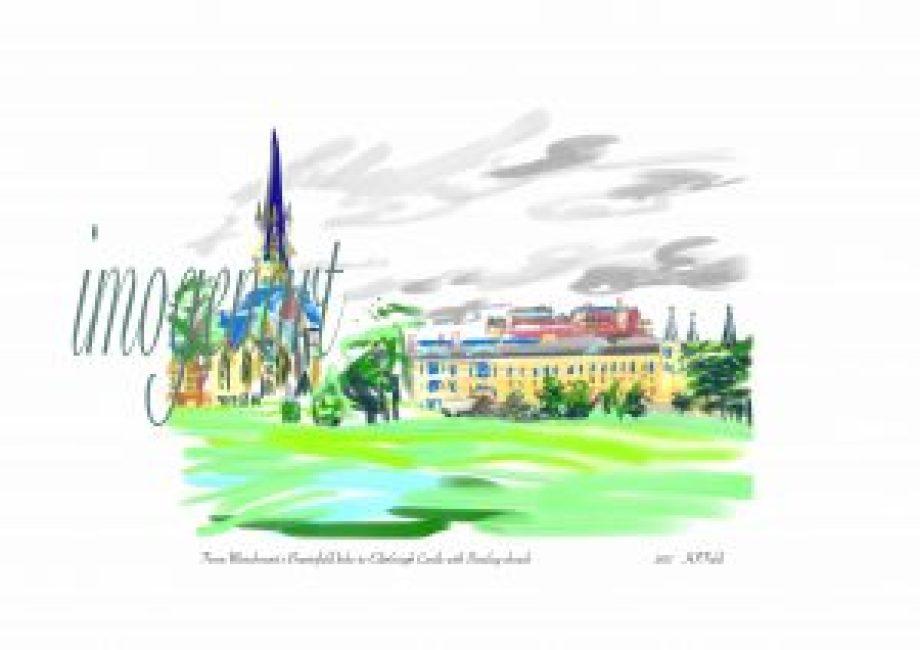 iPad print of Edinburgh castle across Bruntsfield links