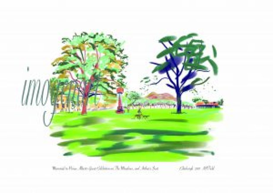 Print of iPad sketch of The Meadows and the Memorial to Prince Albert