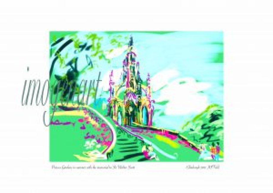 Print of iPad sketch of Walter Scott Memorial from Princes Gardens Edinburgh