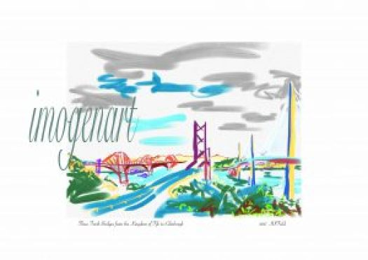 Print of iPad sketch of Three Forth Bridges to Edinburgh with Pentland hills