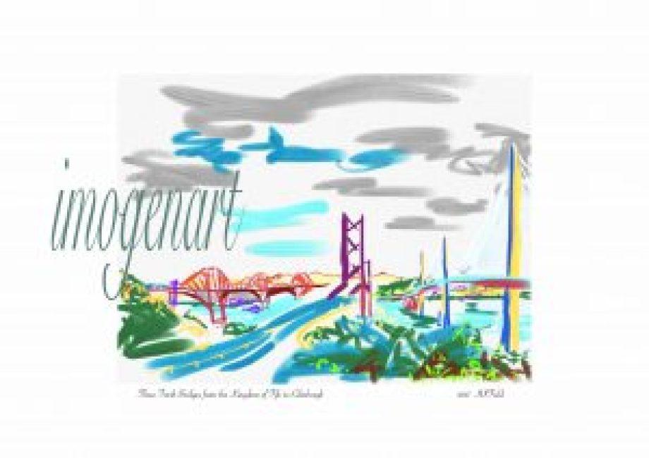 Print of iPad sketch of Three Forth Bridges to Edinburgh with Pentland hills