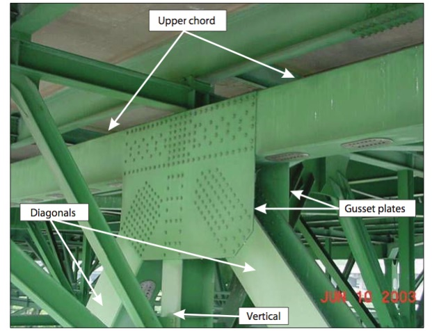 Gusset plates on Old I-35W highway bridge in Minniapolis, MN