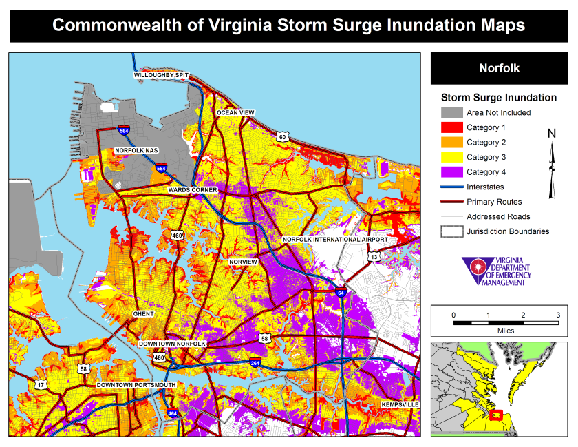 Norfolk VA storm surge map