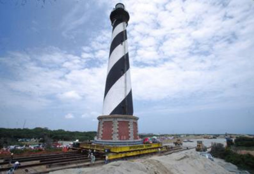 Cape Hatteras Lighthouse being moved