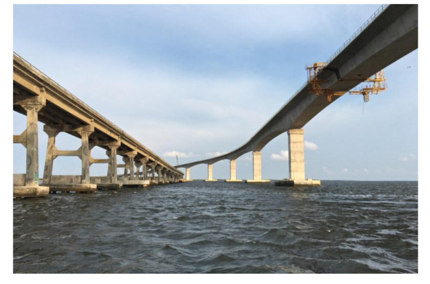 Photo of the old and the new H. Bonner Bridges, Outer Banks, North Carolina