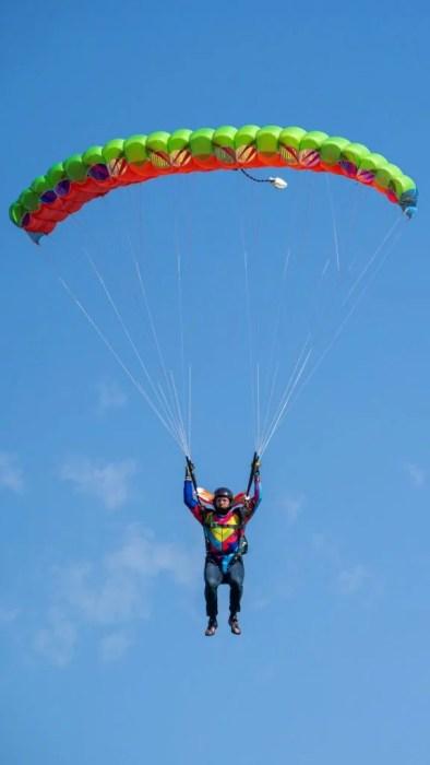 Flying my new parachute cross-braced JFX 2, canopy pilot, skydiving