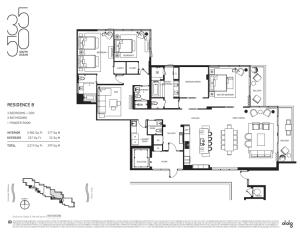 Floor Plan of Condo Residence B at 3550 South Ocean