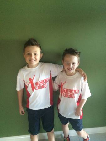 Ben and his brother Jake all read for St. Mary's casual clothes day