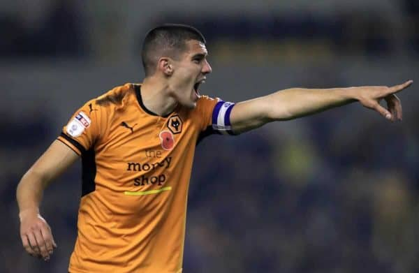 Wolverhampton Wanderers' Conor Coady during the Sky Bet Championship match at Molineux, Wolverhampton. PRESS ASSOCIATION Photo. Picture date: Friday November 3, 2017. See PA story SOCCER Wolves. Photo credit should read: Mike Egerton/PA Wire. RESTRICTIONS: EDITORIAL USE ONLY No use with unauthorised audio, video, data, fixture lists, club/league logos or