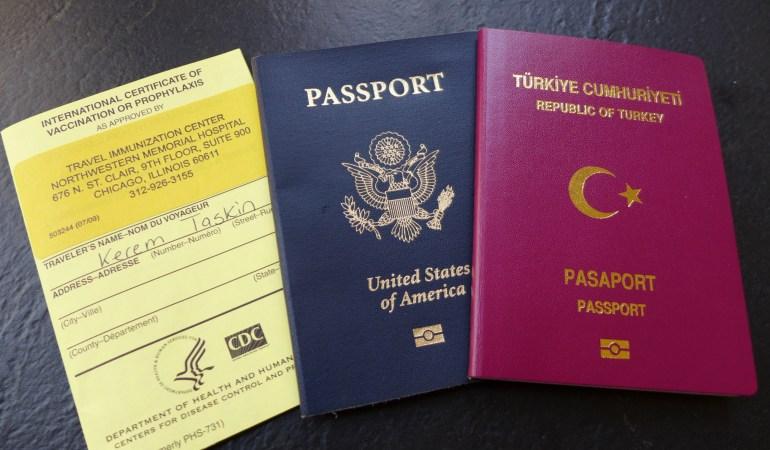 Yellow card, US passport and Turkish passport