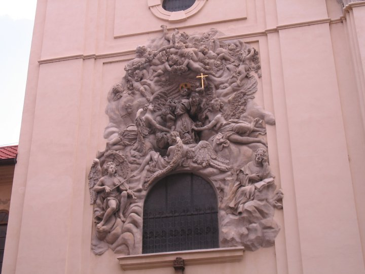 Intricate carvings on the exterior of a church