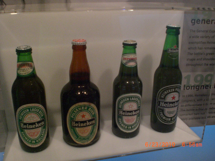 An assortment of Heineken bottles