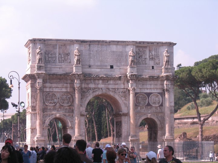Arch of Constantine, through which triumphant emperors returned to the city