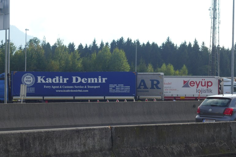 Turkish trucks on the other side of the motorway