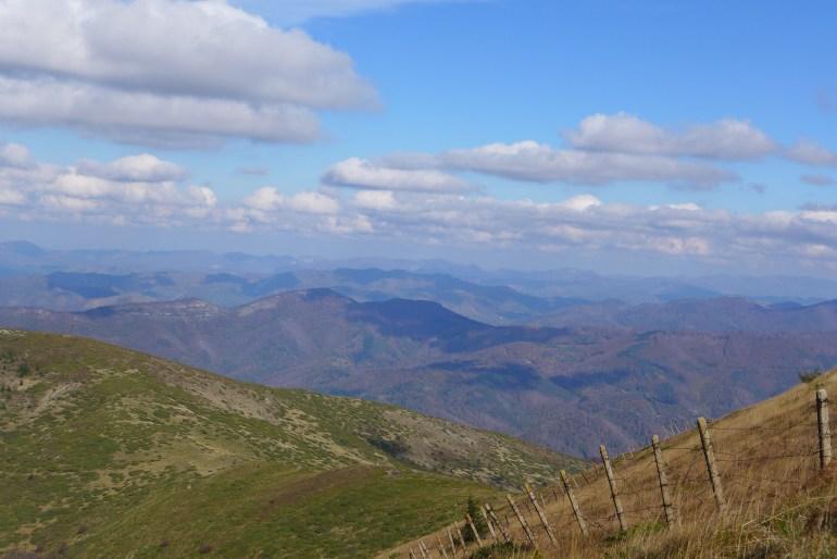 The Balkan mountain range stretching to the horizon