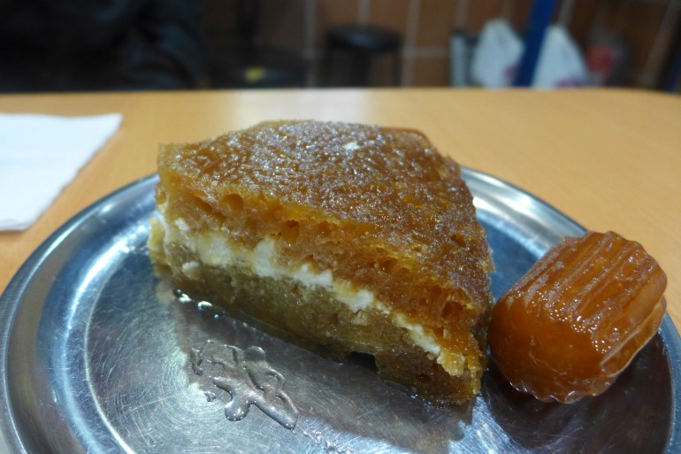 Ekmek kadayıfı (left), a bread pudding sandwiching kaymak, and Tulumba (right), a syrup soaked traditional dessert