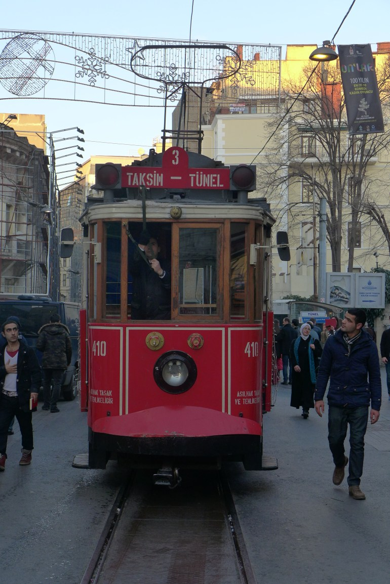 Taksim – Tünel Nostalgia Tramway, which runs the length of İstiklal Caddesi (Independence Avenue)