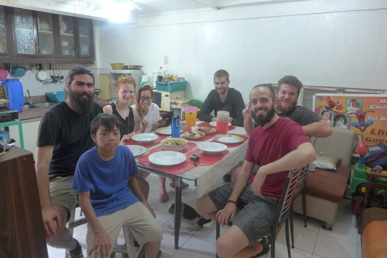 The wonderful meal that Roger prepared for us, and my first meal in the Philippines - Clockwise from the center: Willard, myself, Elizabeth, Carla, Zach, Paul and Jordi